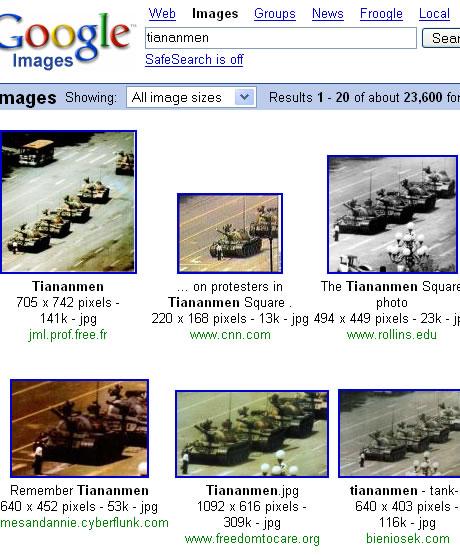 Tienanmen volgens Google.com