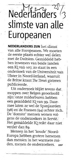 Nederlanders het slimst in Europa