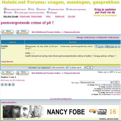 Google Adsense koppelt penisvergrotende crèmes en pillen aan CD&V Hamme