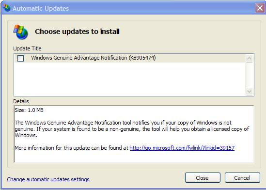Windows Genuine Advantage notification