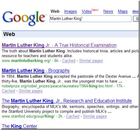Google resultaten voor Martin Luther King