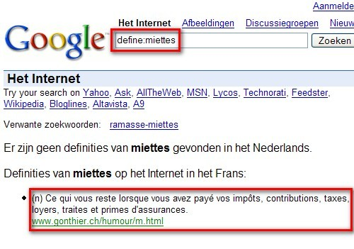 """Definities van """"miettes"""" volgensGoogle"""