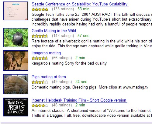 Lijstje met Google video aanbevelingen