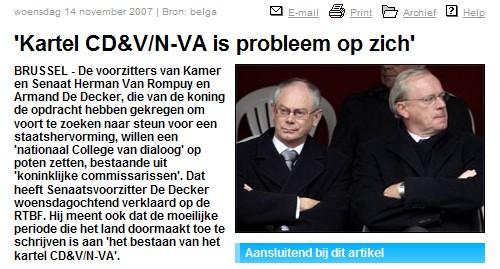 De Decker al dadelijk ruzie met mede koninlijk verzoener Herman Van Rompuy…
