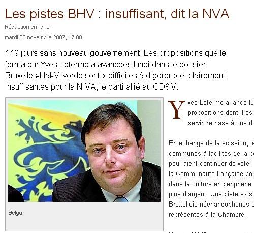 De Wever en het NVA vinden de voorstellen van formateur Yves Leterme (CDenV) over Brussel-Halle-Vilvoorde onvoldoende.