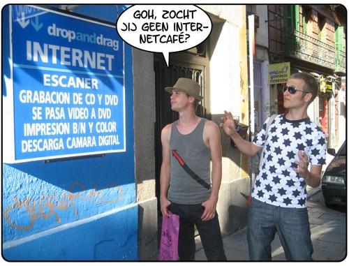 Zoeken naar een internetcafé opvakantie