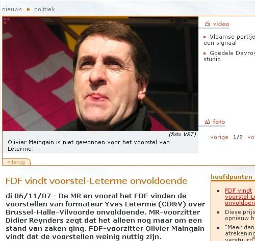De MR en vooral het FDF vinden de voorstellen van formateur Yves Leterme (CDenV) over Brussel-Halle-Vilvoorde onvoldoende.
