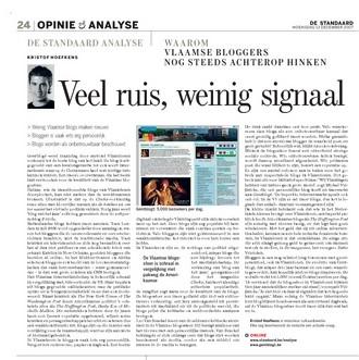 """""""Veel ruis, weinig signaal"""", Vlaamse blogs in De Standaard"""