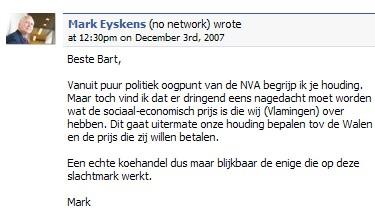 Mark Eyskens post een bericht op Bart De Wever zijn Wall