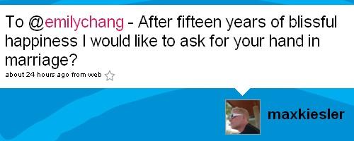 Huwelijksaanzoek van Max Kiesler op Twitter