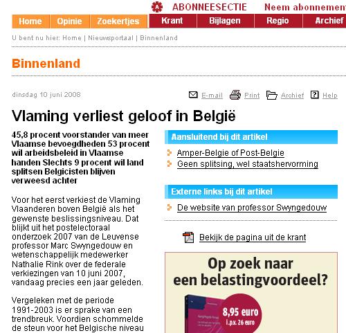 Vlaming verliest geloof in België