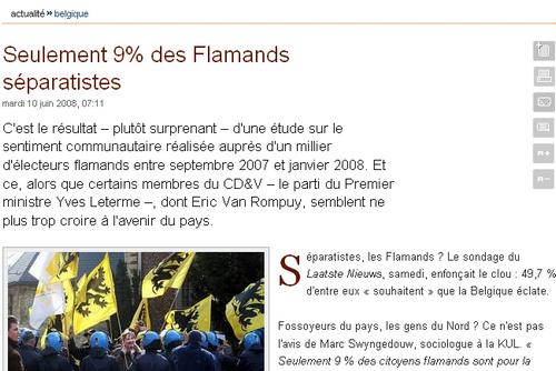 Seulement 9% des Flamands sont séparatistes