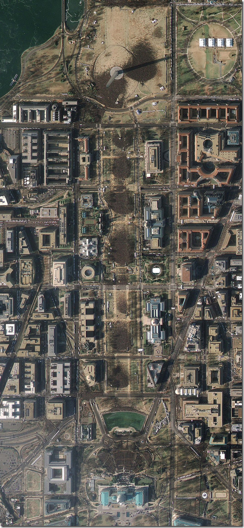 Satellite image of Washington on Obama Inauguration day