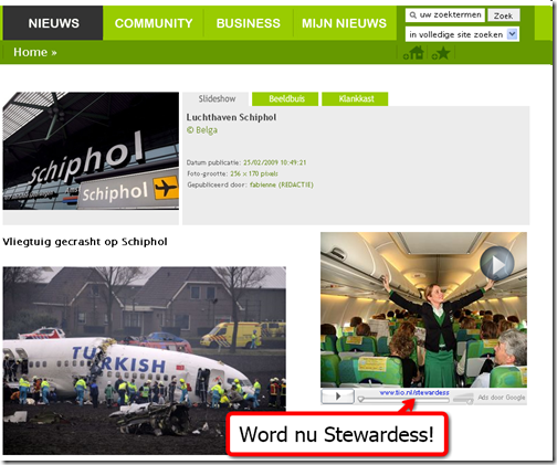 Schiphol aircrash Google adsense op nieuws.be