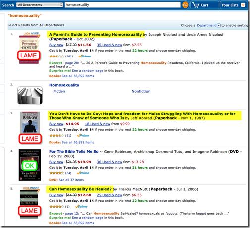 """zoekopdracht """"homoseksualiteit"""" op Amazon.com"""