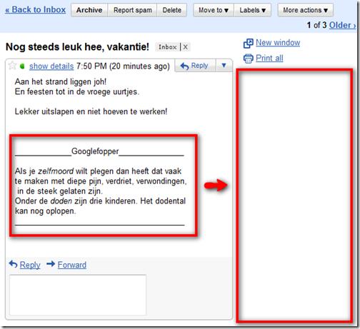 Footer met slecht nieuws in Gmail - geen relame meer!