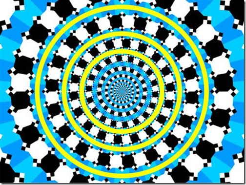 Optische illusie: dit is geen spiraal, met gele cirkels erbovenop