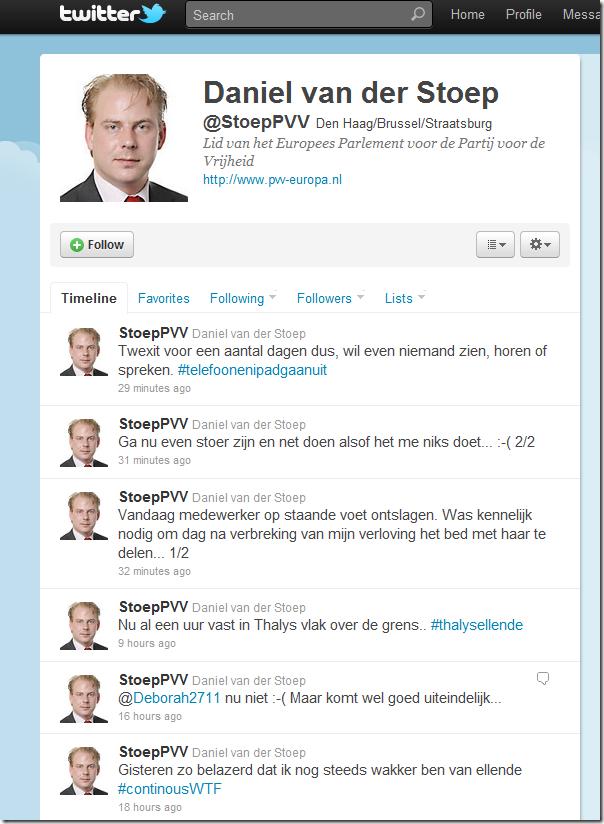 Tweets Daniel van der Stoep, Nederlands lid van het Europees parlement voor de PVV