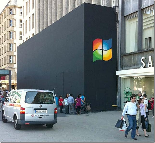 Apple store met Windows logo, Jungfernstieg, Hamburg
